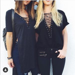 LF Lace Up Slit Tee